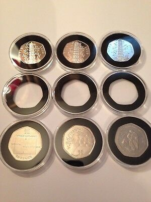 NEW!COIN CAPSULES for ROYAL MINT 50p COINS (10 pcs)!