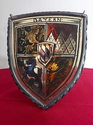 Antique 1900 German Stained Glass Bavaria Bayern Shield art deco barock