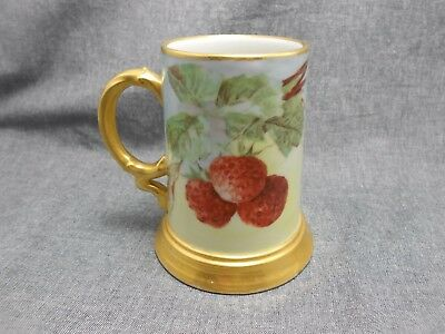 Antique Jean Pouyat Limoges France Berry Stein/Mug hand painted 5""