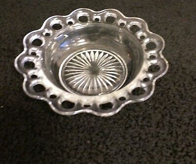 "Anchor Hocking Crystal Depression LACE EDGE OLD COLONY Cereal Bowl  6-1/2"" 1930s"