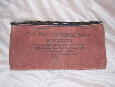 Vintage The First National Bank Of Chillicothe Zipper Canvas Money Bag
