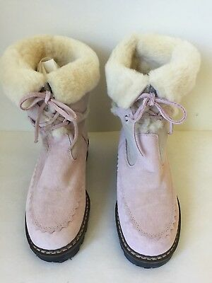 3e55b61c PRADA FUR SHEARLING & Suede Lug Sole Mid Boot Shoe 35 Ankle $1400 ...
