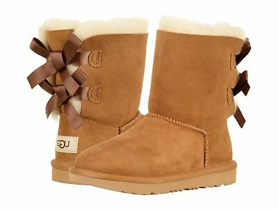 Children's Shoes UGG Kids Bailey Bow II 1017394K Chestnut *New*