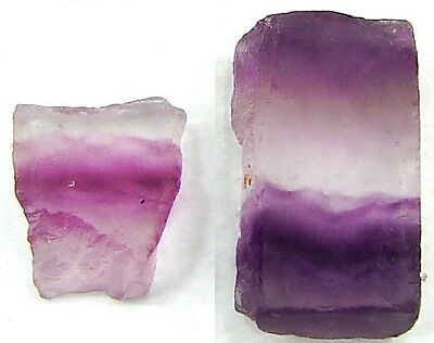 Rough Fluorite Lot Pair Pink Purple 52Ct Natural Gemstones Untreated Crystals