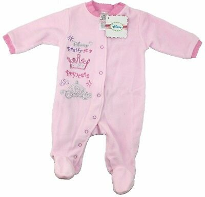 DISNEY Princess Baby Girl SLEEPSUIT Soft Fleece Babygrow PINK 0 - 12 mths