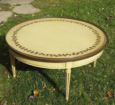 Vintage Mid Century Modern Coffee Table with Brass Rail