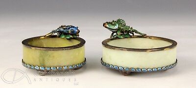 Lot Of Two Old Chinese Enameled Silver And Stone Footed Bowls