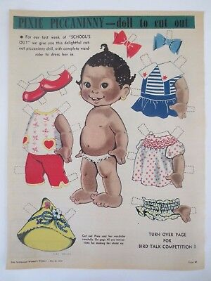 Vintage advertising original 1959 Australian ad PIXIE PICCANINNY CUT-OUT DOLL