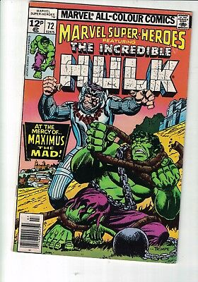 Marvel Comics MArvel super heroes feat The Incredible Hulk #72 July 1978