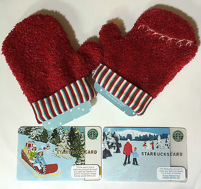 2 x Starbucks Card Rush Delivery & Winter Walk 2007 W/ SLEEVES US VERSION NEW