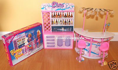 Gloria Furniture Happy Hour Drinking Bar W/bar Stand & Stools Playset For Barbie