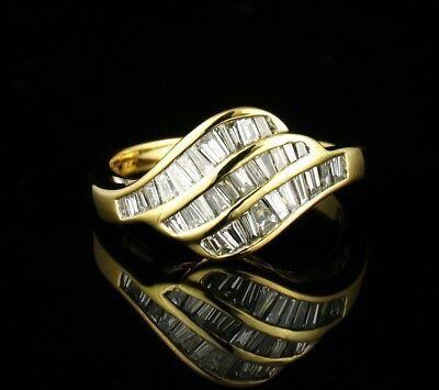 ED SIGNED ESTATE NATURAL 1.34ctw DIAMOND SOLID 18K YELLOW GOLD WIDE BAND RING