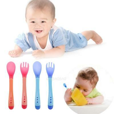 2Pcs Infant Baby Feeding Safety Soft Rubber Spoon+Fork Temperature Sensing Spoon