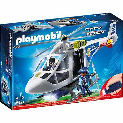 Playmobil Child/Kids Toy 6921 City Action Police Helicopter With LED Searchlight