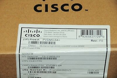 *Brand New* Cisco PVDM3-64 3rd Generation High-Density Voice DSP Module 1YrWty