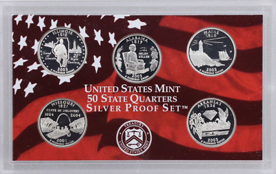 2003 US Mint Silver Proof State Quarters Set - 5 Coins! No Box or COA.