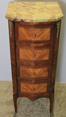 1920S French Louis XV Banded Rose Wood&Satinwood Lingerie Stand,Marble Top