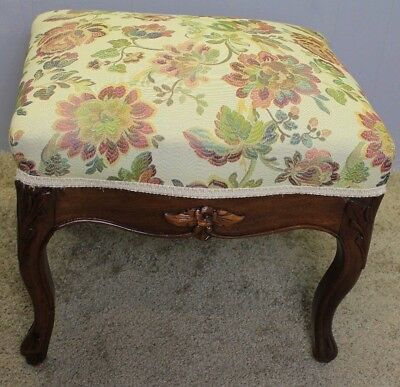 Mid-19th Century French Louis XV Carved solid Mahogany Footstool new upholstery