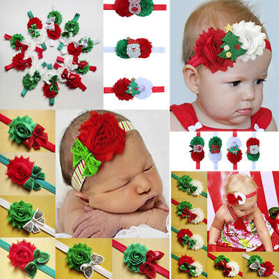 Merry Christmas Kids Elastic Floral Headband Hair Girls baby Princess Hairband