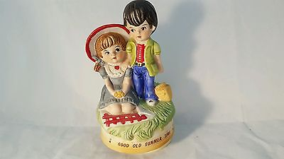 A Price Import Vintage Music Box Good Old Summer Time Boy and Girl Picnic 1976