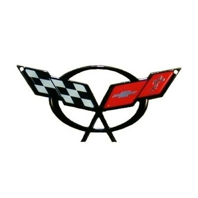 "C5 Corvette Crossed Flag Metal Magnet Emblem Art Size: 6"" x 2 3/4"" 97-04"