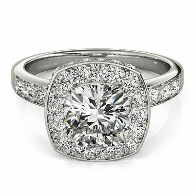 2.03 ct center Cushion cut Diamond Halo style Engagement Solitaire 14K Gold Ring