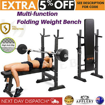 Adjustable Weight Bench Press Squat Rack Flat Gym Fitness Home Exercise Station