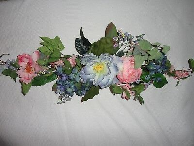 4 Your Home Interiors  33'' Pink & Blue Flowers '' Swag/ Accents