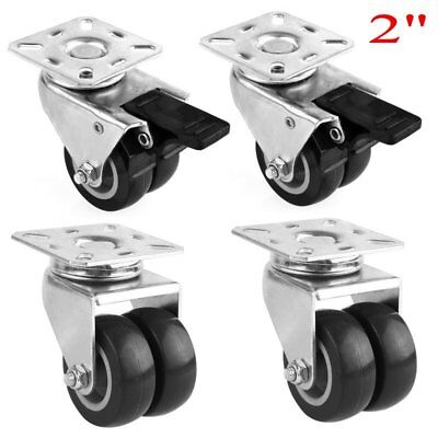"Set of 4 Swivel Plate Casters Double with 2"" Polyurethane Wheels & 2 Side Brakes"