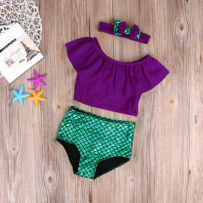 AU STock Kids Baby Girls Beach Mermaid Swimwear Swimsuit Swimming Costume 3Pcs