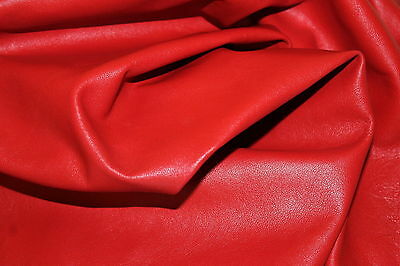 111 Red Color Real Lambskin Leather Swatches 2 Inches Length X 2 Inches Breath