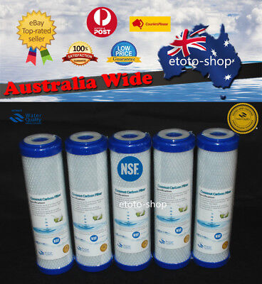 5 x 0.5 Micron Coconut Carbon Block Water Filter Replacement Cartridges 10 x 2.5