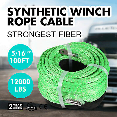 """Pink 5//16/""""*100ft Warn Synthetic Rope with 10/"""" Hawse Fairlead Boat Winch Rope"""