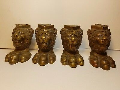 Lot Of 4 Vintage Brass Lion Head Feet Legs Ornate Table Stool Chair Unique
