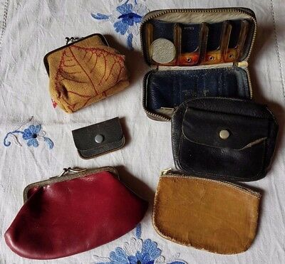 Bulk Lot of Vintage Coin Purses.  Purse Bag Collection Leather Fabric