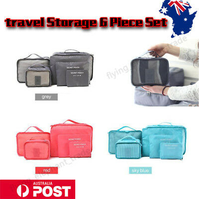 6Pcs Travel Luggage Organizer Packing Cube Clothes Storage Bags Pouch Suitcase