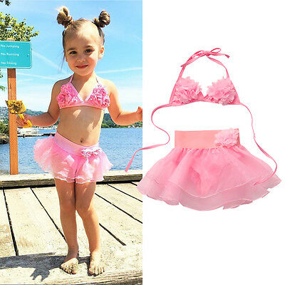 AU STock Kids Girls Swimsuit Swimwear Beachwear Bikini Set Swimming Bathing Suit