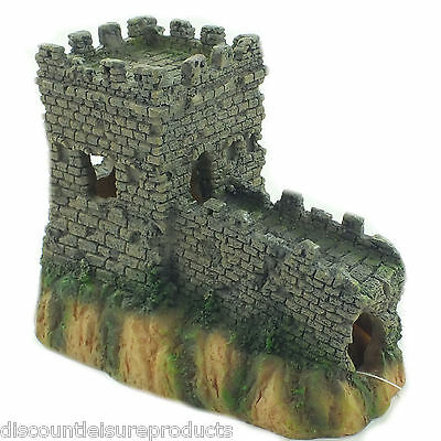 Aquarium Castle Wall & Turret Ruin Hide Fish Tank Decorations Ornament MS761