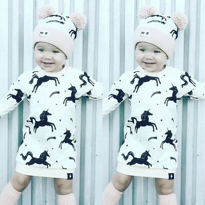 UK Toddler Infant Baby Girl Clothes Christmas Unicorn Romper Hat 2Pcs Set Outfit