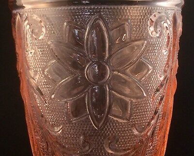 Detailed Art Deco Pink Depression Glass Vase Antique Intricate Flower Pattern