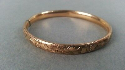 Antique Vintage Gold Filled Baby Child Hinged Bangle Bracelet