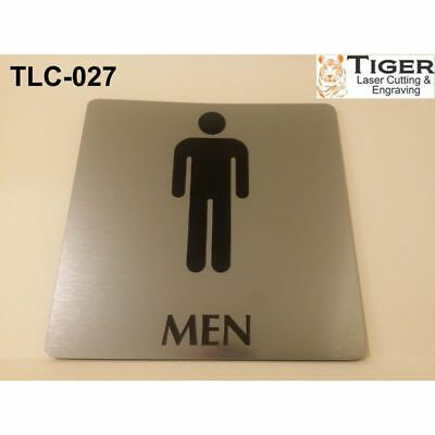 Engraved Bathroom Sign: Men Toilet Sign - 13Cm X 13Cm Or 5.1In X 5.1In Silver