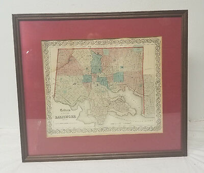 Antique Vintage Colton's Atlas Map of Baltimore Johnson and Browning Maryland