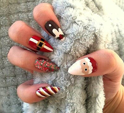 FALSE NAILS - Christmas, Santa, Pudding, Glitter Mix - Stick On - The Holy Nail