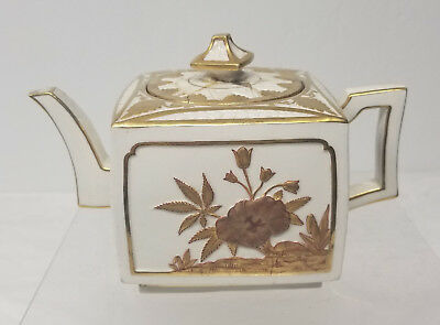 Antique English Royal Worcester Porcelain Aesthetic Style Teapot Repaired