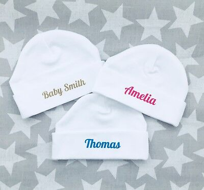 PERSONALISED baby gift unisex baby hats. Pink, blue, beige, ANY NAME baby shower