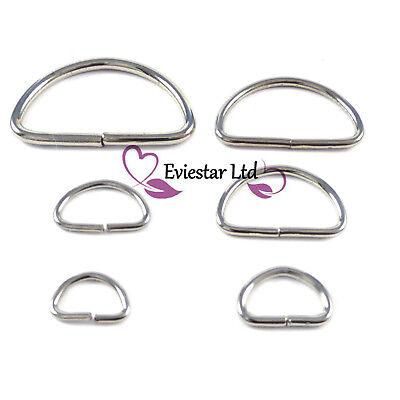D rings Steel Nickel Plated 8 10 11 15 19 24 mm, Moon Rings, MDR1