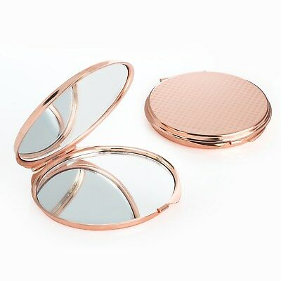 ROSE GOLD Engraved Compact Mirror Personalised Favor Wedding Christmas Gift her
