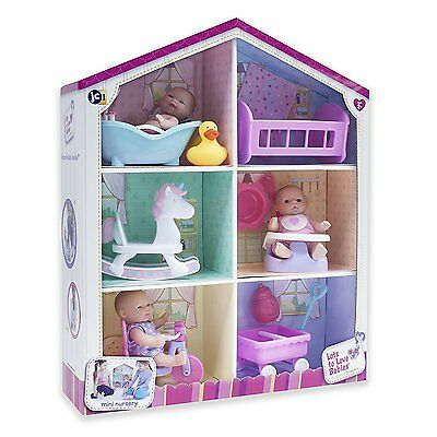 JC Toys Lots To Love Playhouse Gift Set, 3 Dolls, 6 Accessories, New