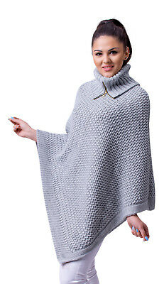 Women's Ladies Poncho Warm Knitted Jumper Sweater Cape Turtleneck with Zipper